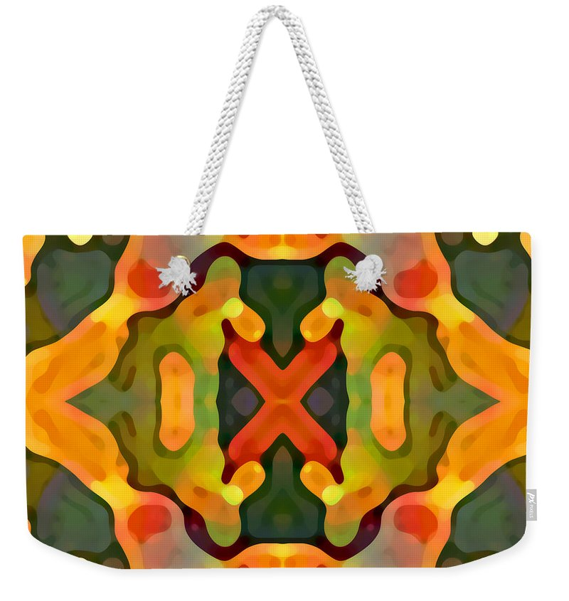 Abstract Weekender Tote Bag featuring the painting Treasure by Amy Vangsgard