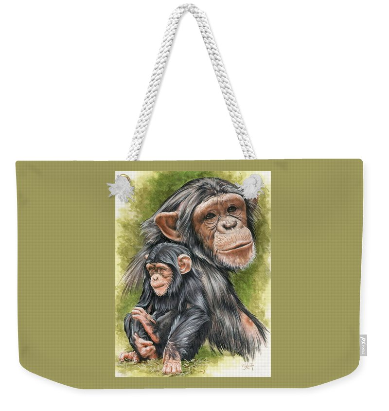 Chimpanzee Weekender Tote Bag featuring the mixed media Treasure by Barbara Keith
