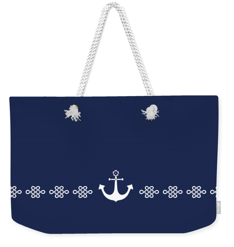 Japan Weekender Tote Bag featuring the digital art Treasure Knot And Anchor In White by Helga Novelli