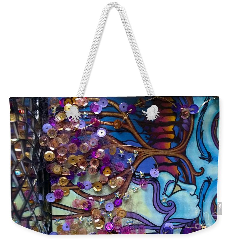 Weekender Tote Bag featuring the painting Tree And Face Of Beauty by Judy Henninger