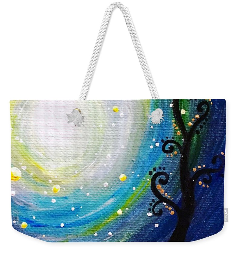 Surreal Weekender Tote Bag featuring the painting Tree And Moonstars by Jolie Shave