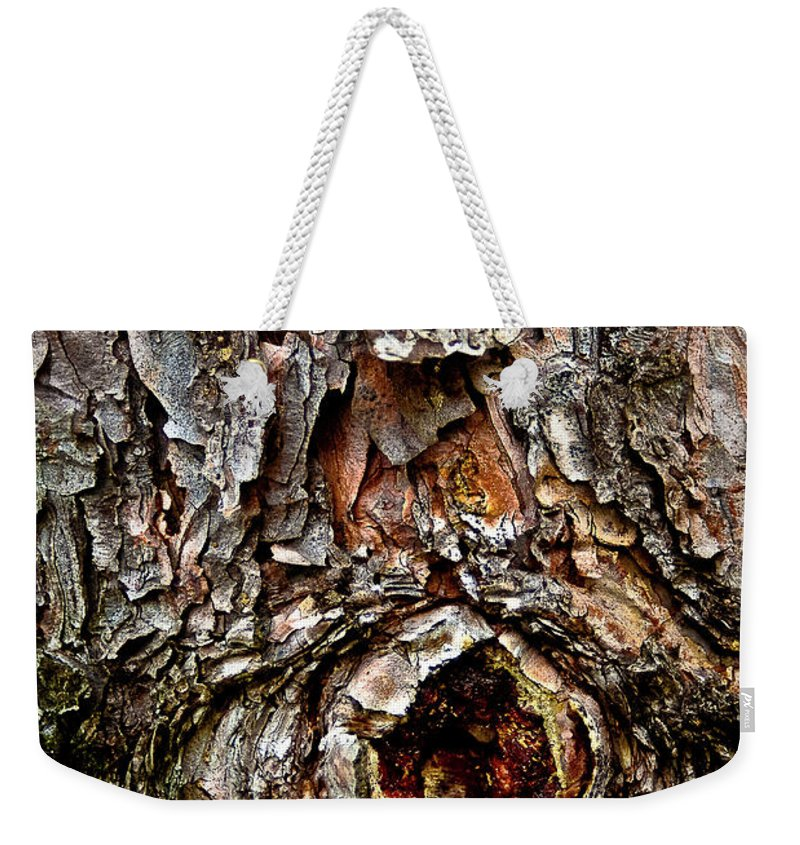 Tree Bark Weekender Tote Bag featuring the photograph Tree Bark With Knothole by Onyonet Photo Studios