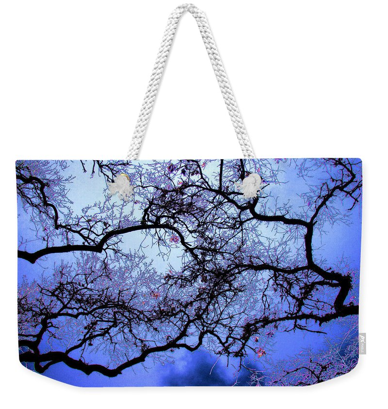 Scenic Weekender Tote Bag featuring the photograph Tree Fantasy In Blue by Lee Santa