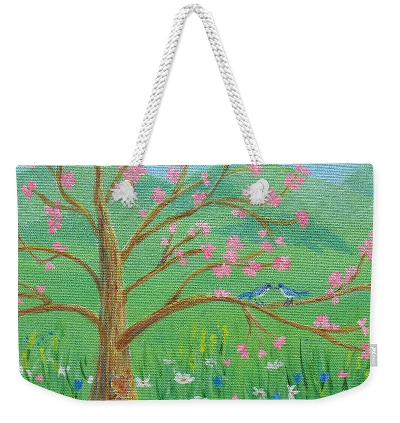 Tree Weekender Tote Bag featuring the painting Tree For Two by Nancy Nale