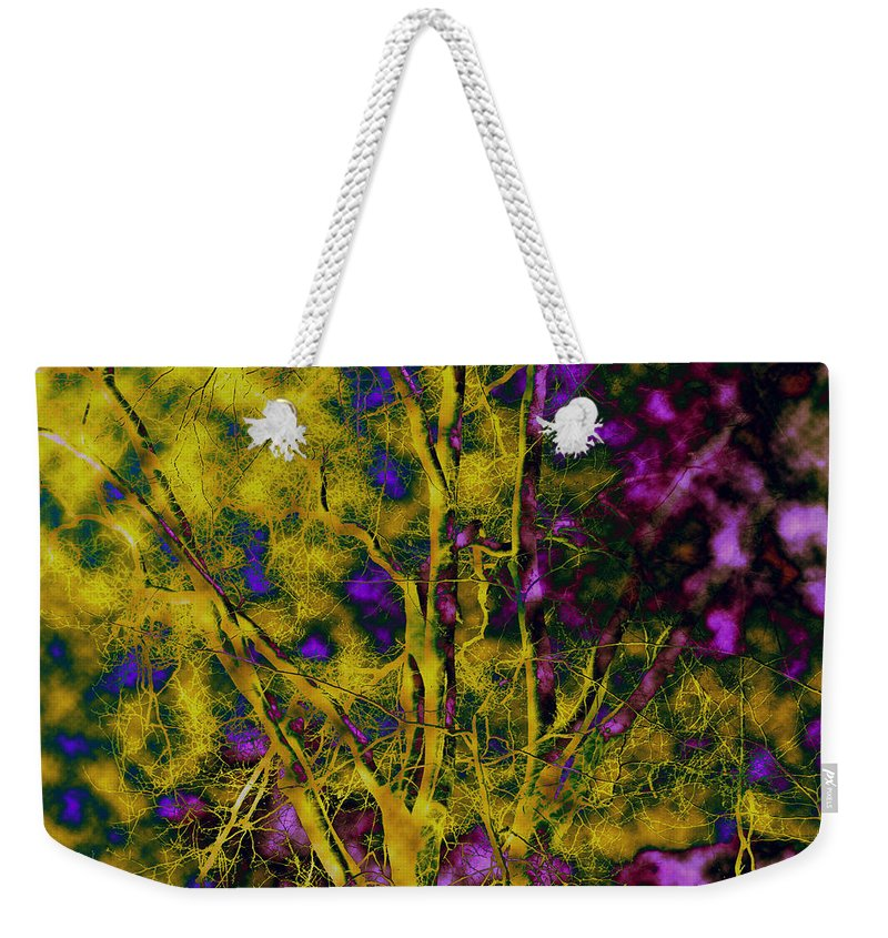 Abstract Weekender Tote Bag featuring the photograph Tree Glow by Linda Sannuti