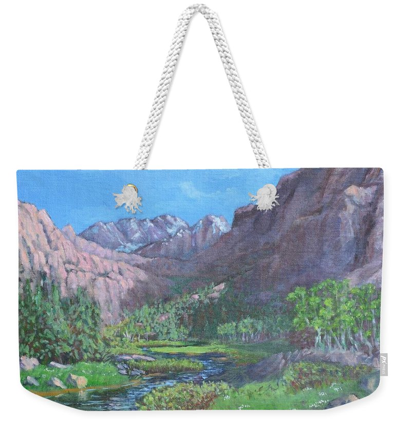 Landscape Weekender Tote Bag featuring the painting Tree Line Oasis by David Siegel