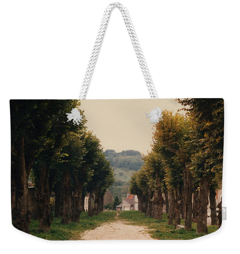 Trees Weekender Tote Bag featuring the photograph Tree Lined Pathway In Lyon France by Nancy Mueller