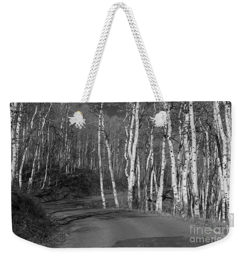 Black And White Weekender Tote Bag featuring the photograph Tree Loop B And W by Douglas Barnard
