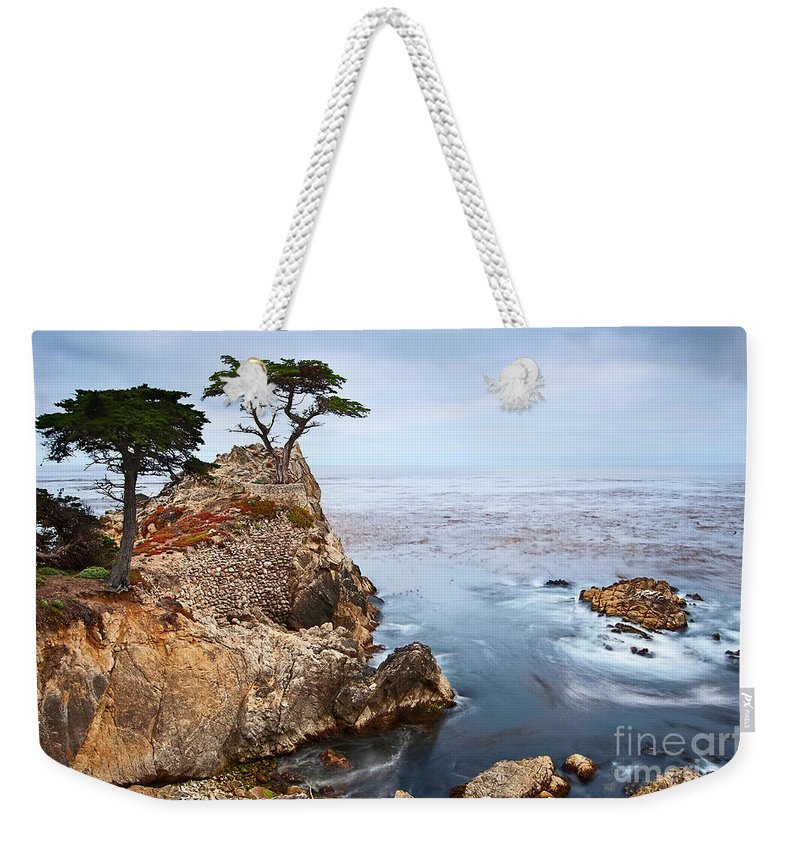 Lone Cypress Weekender Tote Bag featuring the photograph Tree Of Dreams - Lone Cypress Tree At Pebble Beach In Monterey California by Jamie Pham