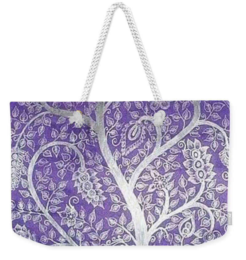 Peacock Weekender Tote Bag featuring the painting Tree Of Life by M Ande