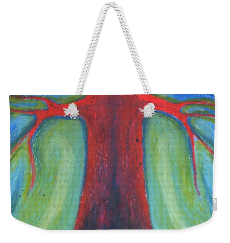 Colour Weekender Tote Bag featuring the pastel Tree Of Quiet by Wojtek Kowalski