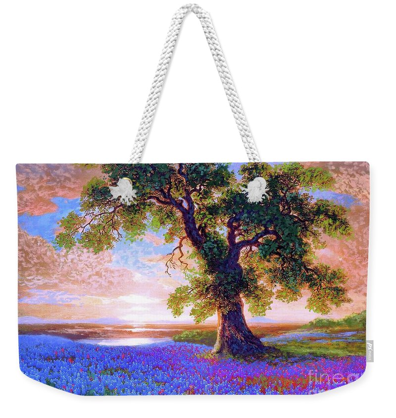 Landscape Weekender Tote Bag featuring the painting Bluebonnets by Jane Small