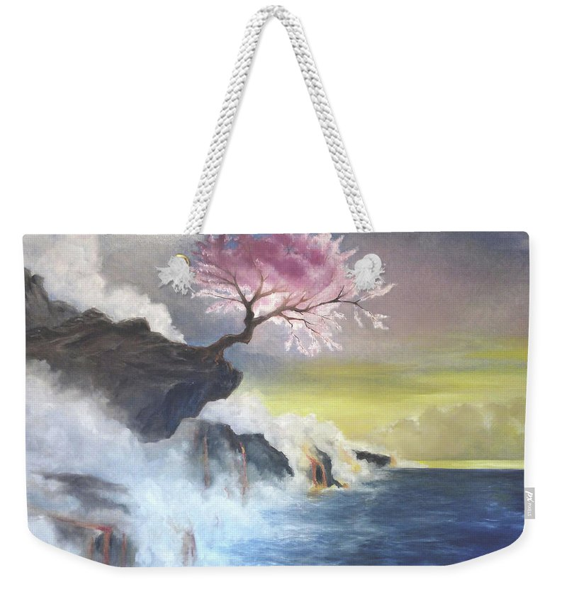 Cherry Tree Weekender Tote Bag featuring the painting Tree On Cliff by Giuseppe Costantino