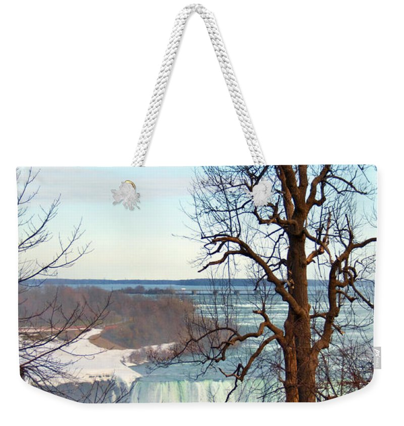 Tree Weekender Tote Bag featuring the photograph Tree Overlooking The Falls by Tammy Wetzel