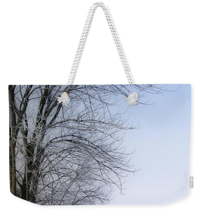 Winter Weekender Tote Bag featuring the photograph Tree-snow-fog by Deborah Benoit