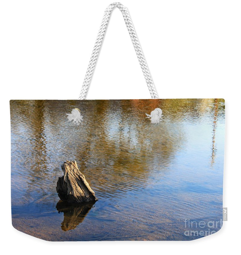 Landscape Weekender Tote Bag featuring the photograph Tree Stump Surrounded By Water by Todd Blanchard