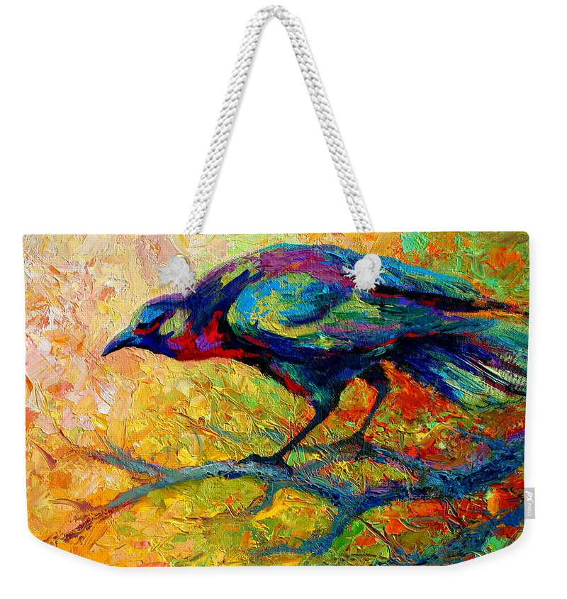 Crows Weekender Tote Bag featuring the painting Tree Talk - Crow by Marion Rose