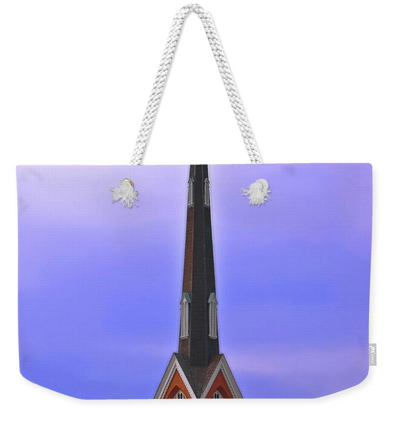 Church Weekender Tote Bag featuring the digital art Tree Top Steeple by DigiArt Diaries by Vicky B Fuller