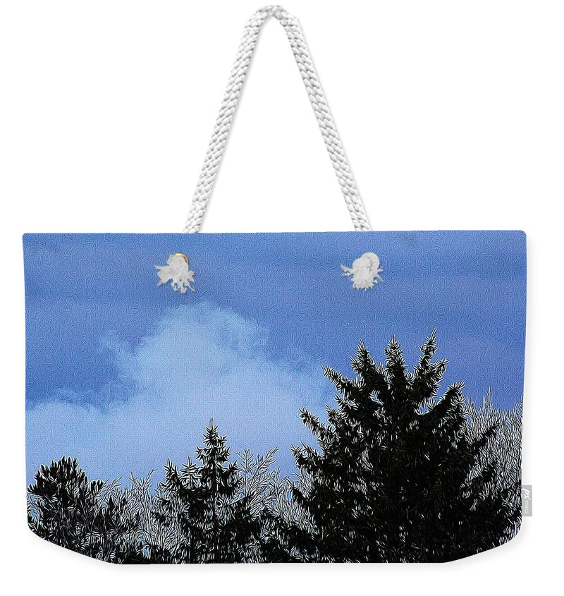 Sky Weekender Tote Bag featuring the photograph Tree Tops 1 by Modern Art