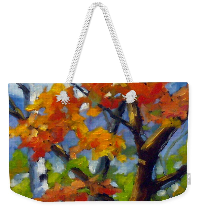 Art For Sale Weekender Tote Bag featuring the painting Tree Tops by Richard T Pranke