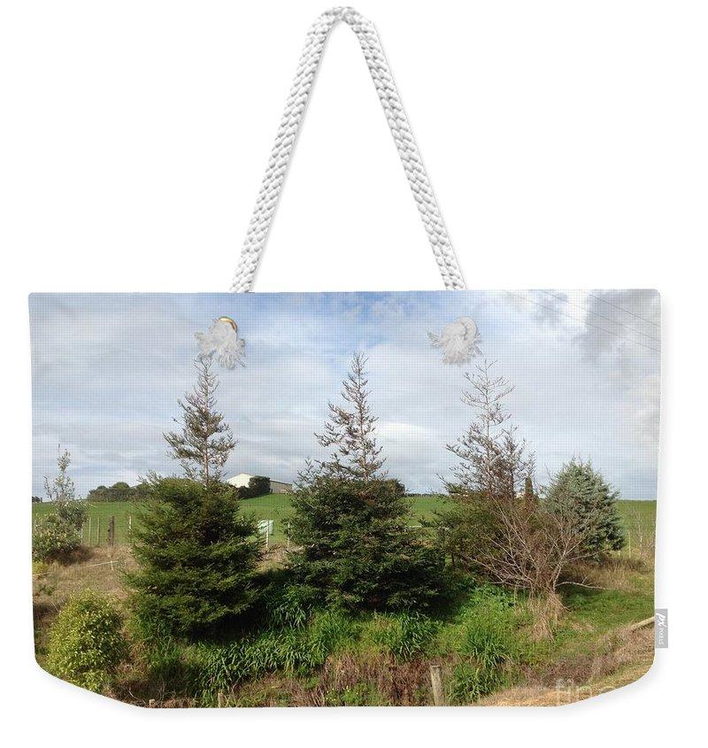 Perfectly Placed Trees Weekender Tote Bag featuring the photograph Perfectly Placed Trees by Karen Moren