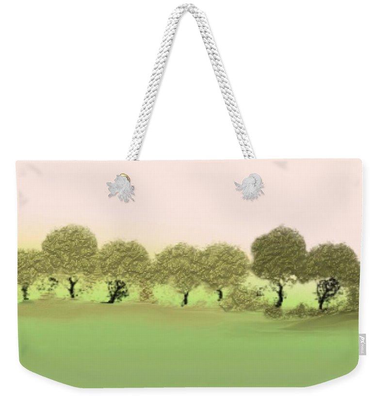 Tree Weekender Tote Bag featuring the painting Treeline by Gina Lee Manley