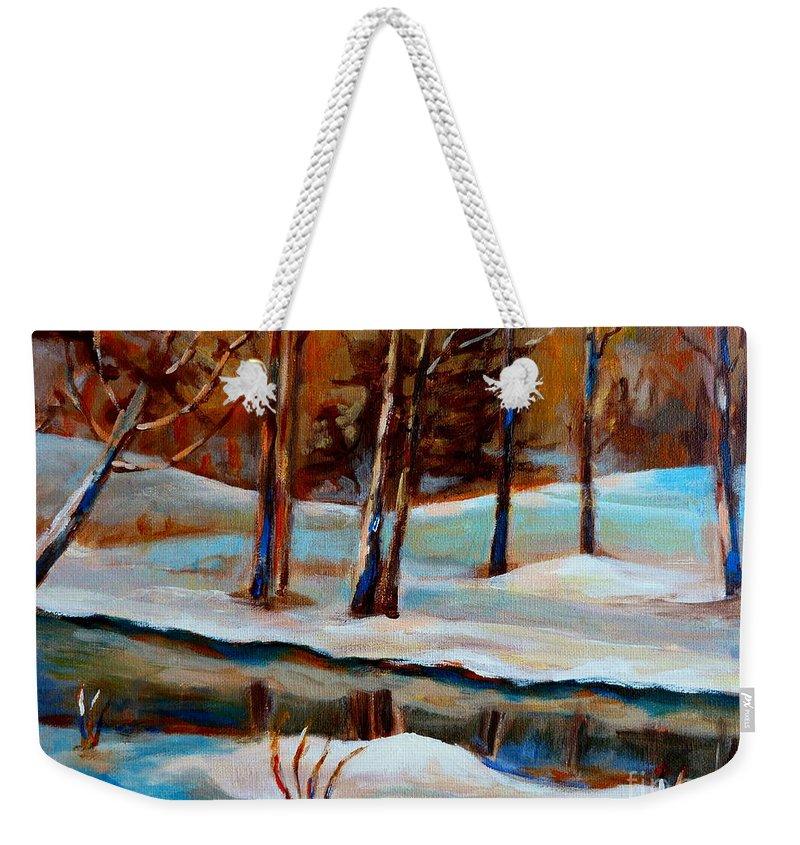 Trees At Rivers Edge Weekender Tote Bag featuring the painting Trees At The Rivers Edge by Carole Spandau