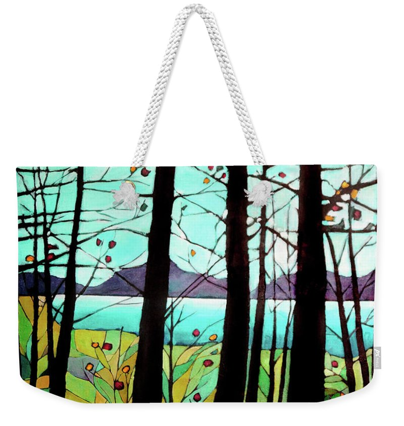 Landscape Weekender Tote Bag featuring the painting Trees In Fall by Alison Newth