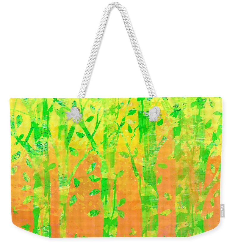Abstract Weekender Tote Bag featuring the digital art Trees in the Grass by William Russell Nowicki