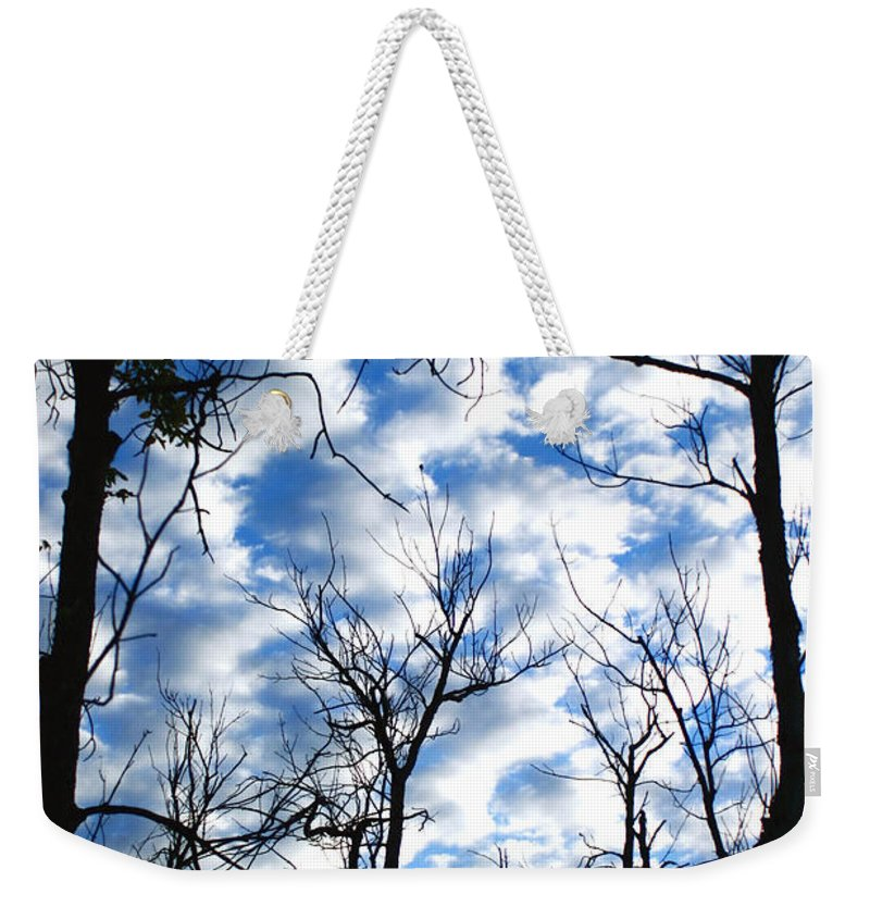 Trees Blue Sky Clouds White Puffy Landscape Photography Photograph Art Weekender Tote Bag featuring the photograph Trees In The Sky by Shari Jardina
