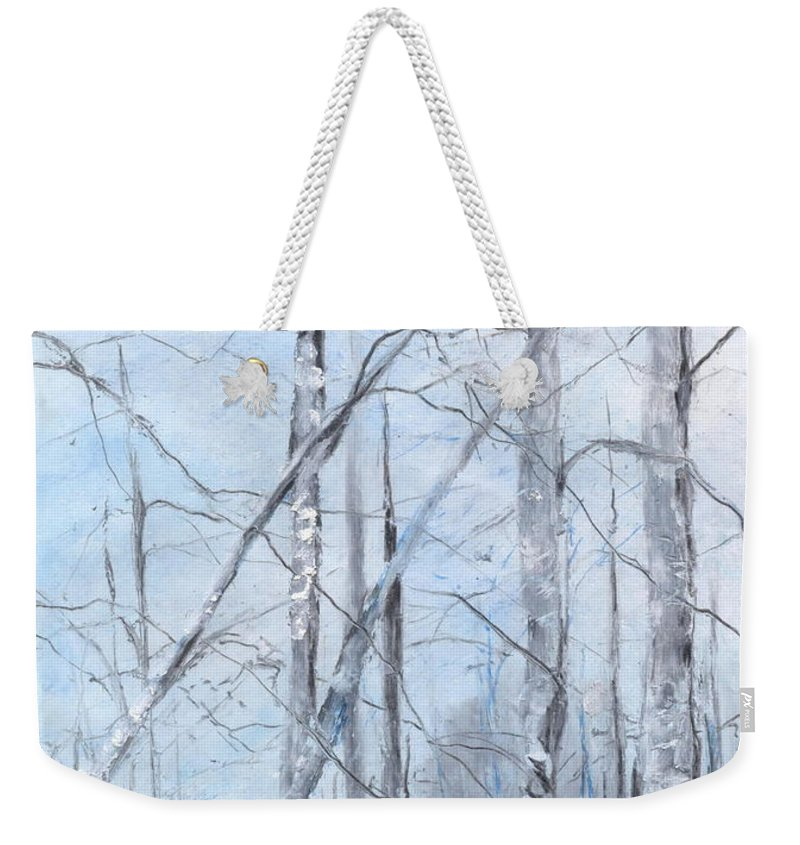 Trees Weekender Tote Bag featuring the painting Trees In Winter Snow by Robin Miller-Bookhout
