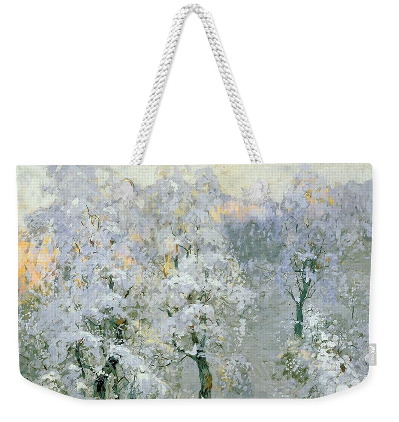 Trees In Wintry Silver Weekender Tote Bag featuring the painting Trees In Wintry Silver by Konstantin Ivanovich Gorbatov