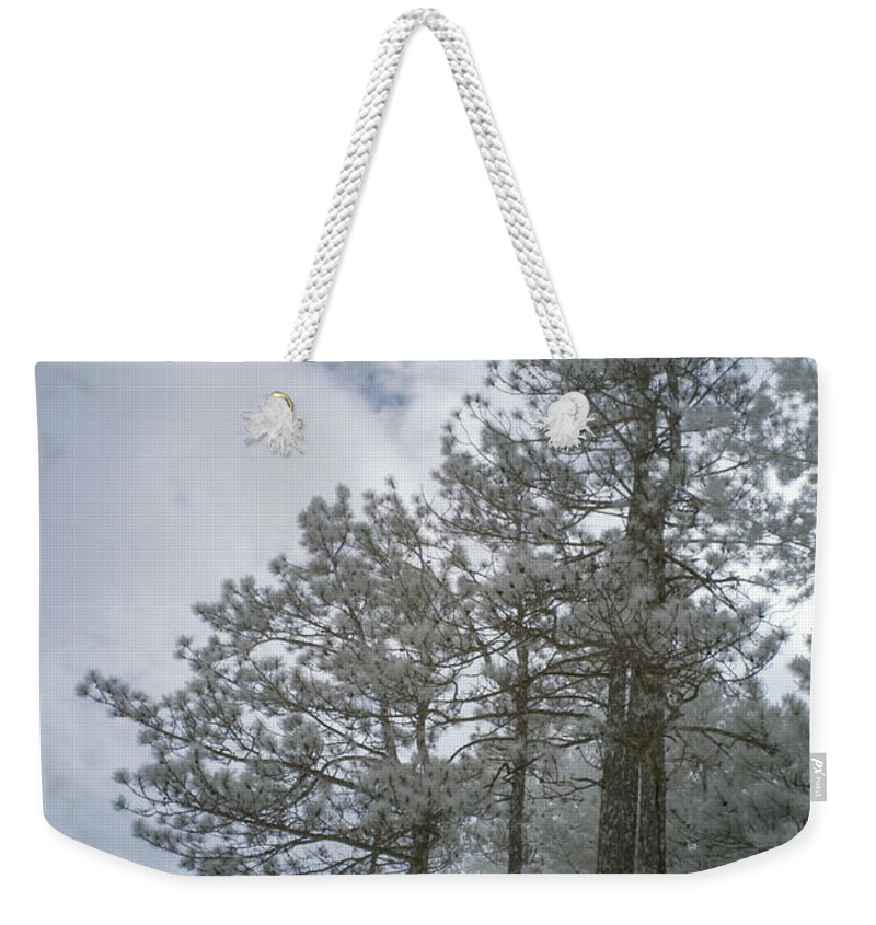 Forest Weekender Tote Bag featuring the photograph Trees On A Hillside by Guy Whiteley