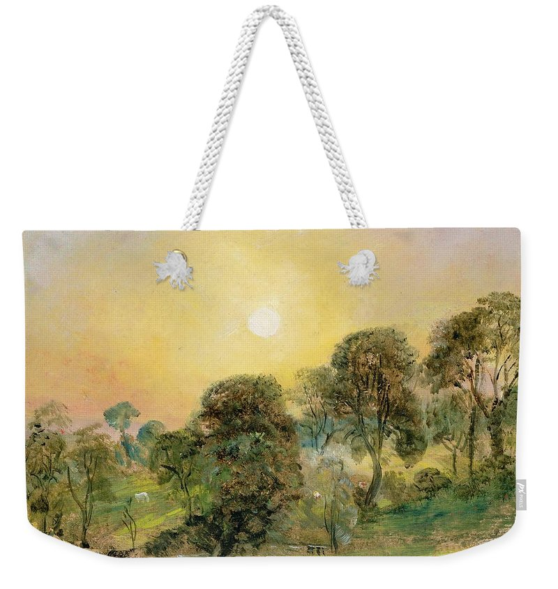 Trees Weekender Tote Bag featuring the painting Trees On Hampstead Heath At Sunset by John Constable
