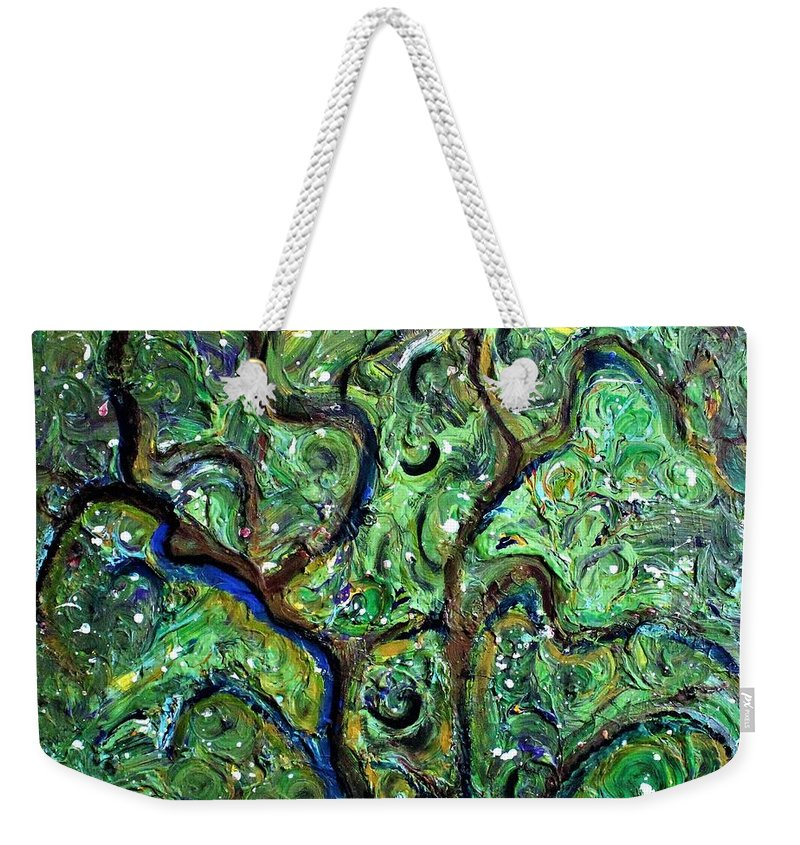 Green Weekender Tote Bag featuring the painting Trees by Pam Roth O'Mara
