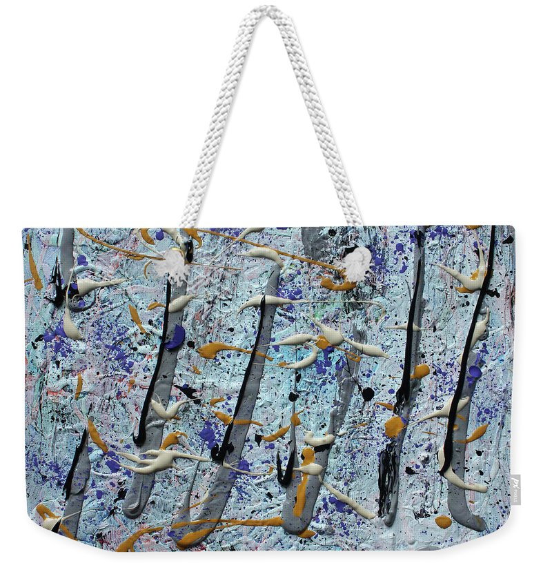 Colorado Weekender Tote Bag featuring the painting Trees Thru White Out by Pam Roth O'Mara