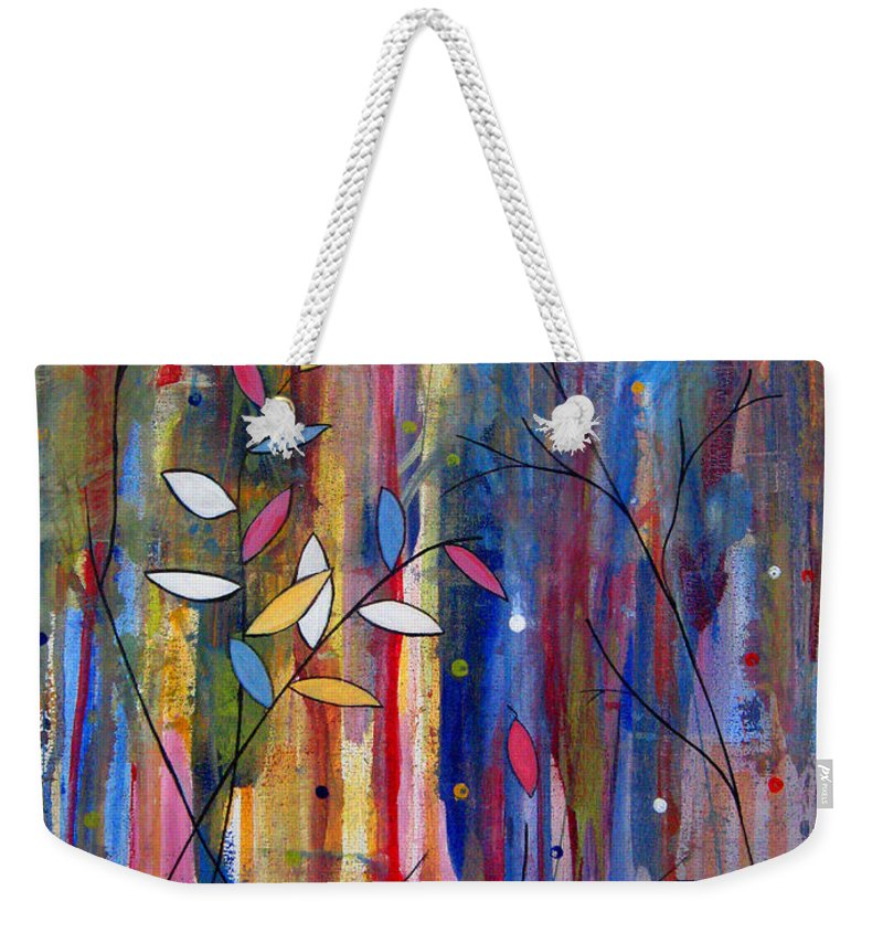 Abstract Weekender Tote Bag featuring the painting Tres Jolie by Ruth Palmer