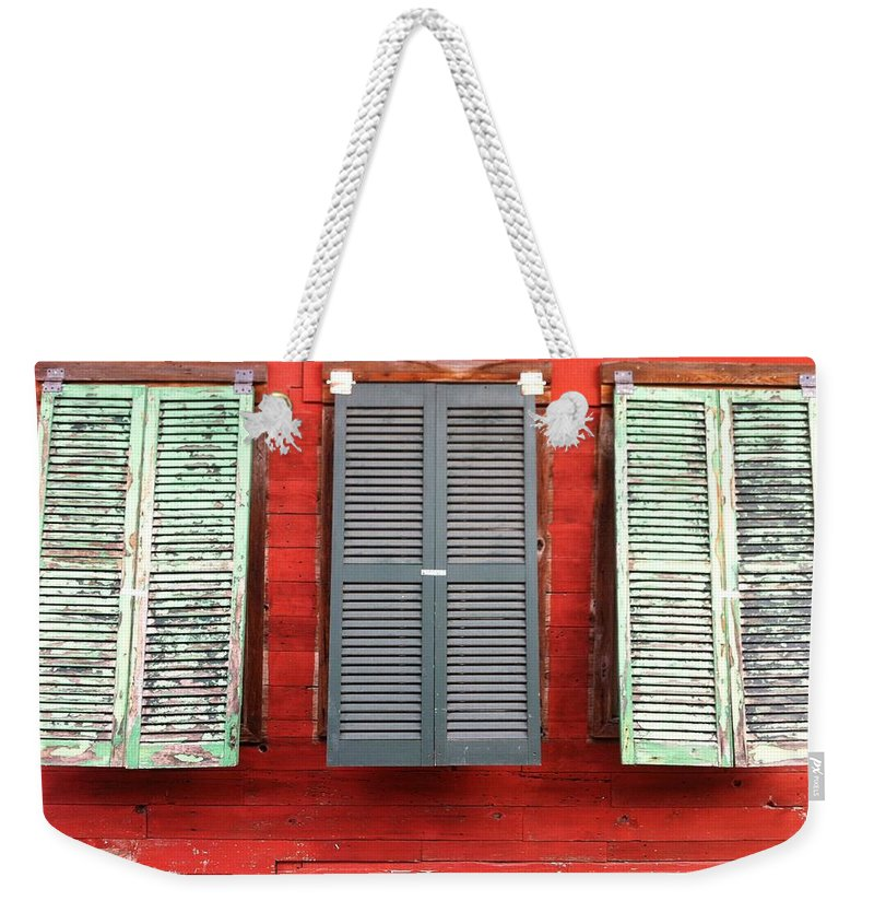 Shutters Weekender Tote Bag featuring the photograph Tres Persianas by Cherylene Henderson