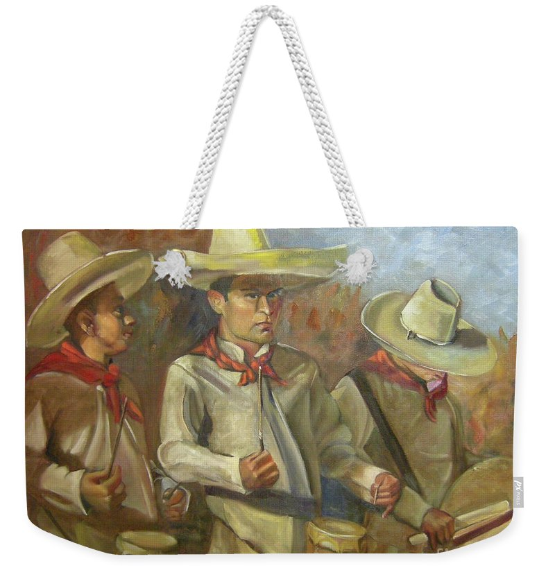 Mexico Weekender Tote Bag featuring the painting Tres Tambores by Lilibeth Andre