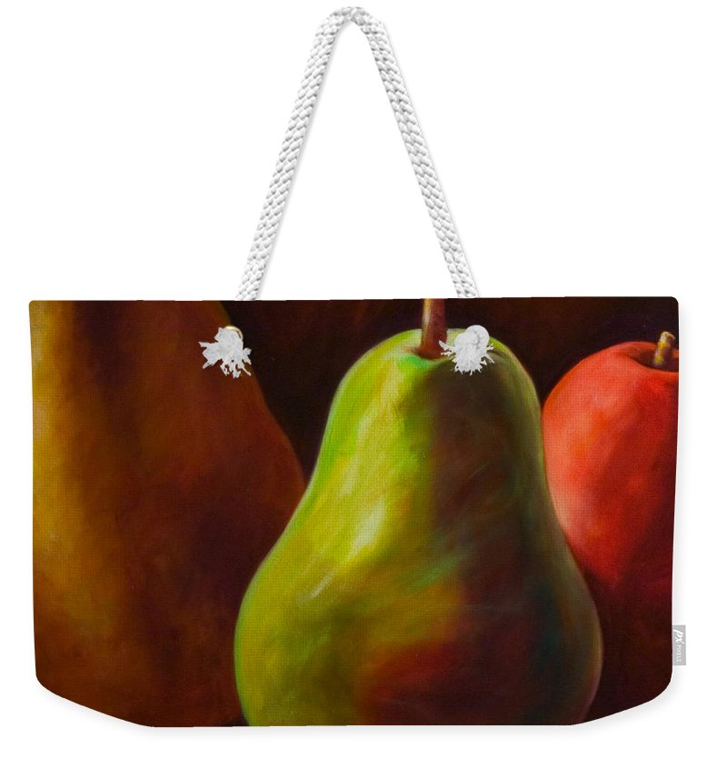 Fruit Weekender Tote Bag featuring the painting Tri Pear by Shannon Grissom