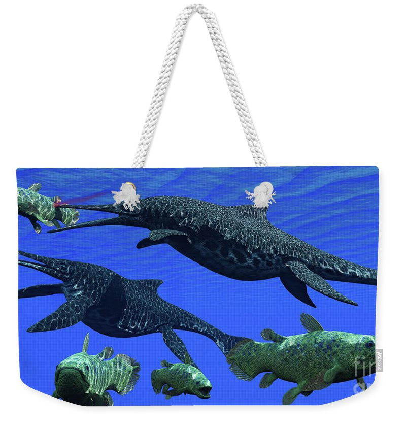 3d Illustration Weekender Tote Bag featuring the painting Triassic Shonisaurus Marine Reptile by Corey Ford