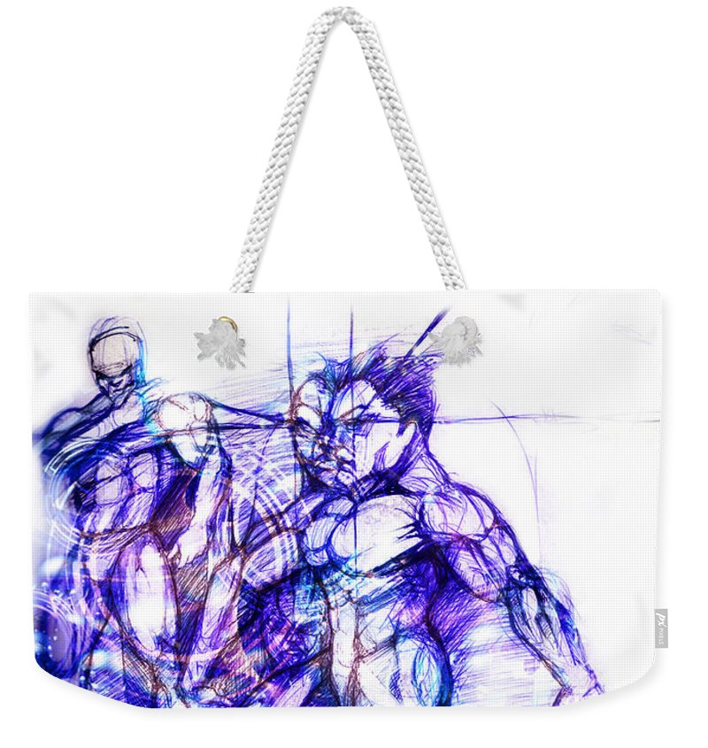 Dancers Weekender Tote Bag featuring the digital art Tribal Dancers by Isaac Feliciano