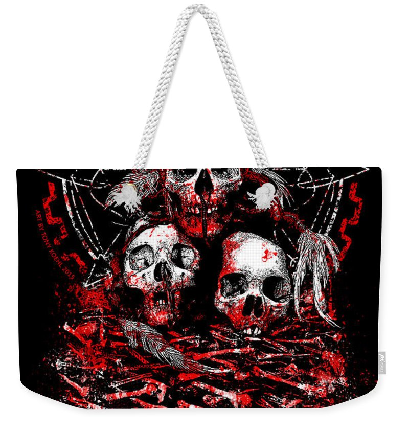Skull Weekender Tote Bag featuring the mixed media Tribal Massacre by Tony Koehl