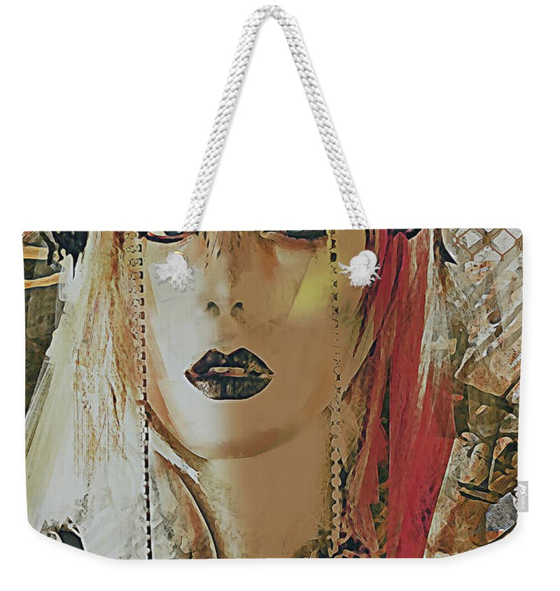 Portrait Weekender Tote Bag featuring the digital art Tribal Rust Portrait by Galen Valle