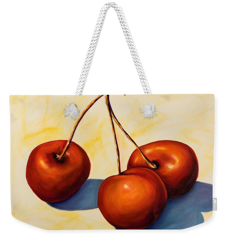 Cherries Weekender Tote Bag featuring the painting Trilogy by Shannon Grissom