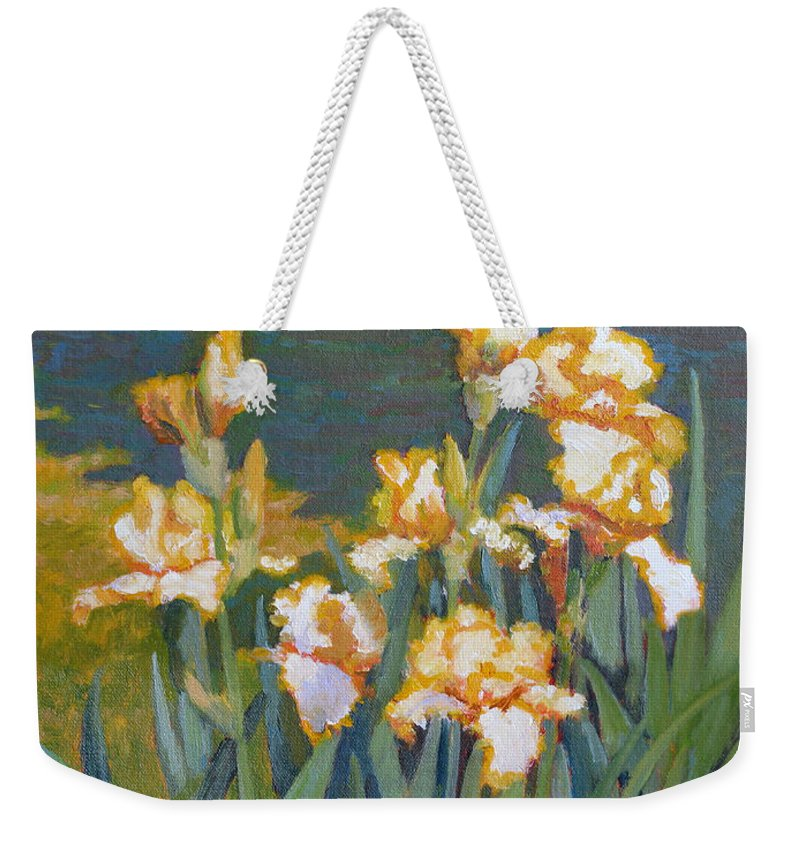 Impressionism Weekender Tote Bag featuring the painting Trimmed In Gold by Keith Burgess