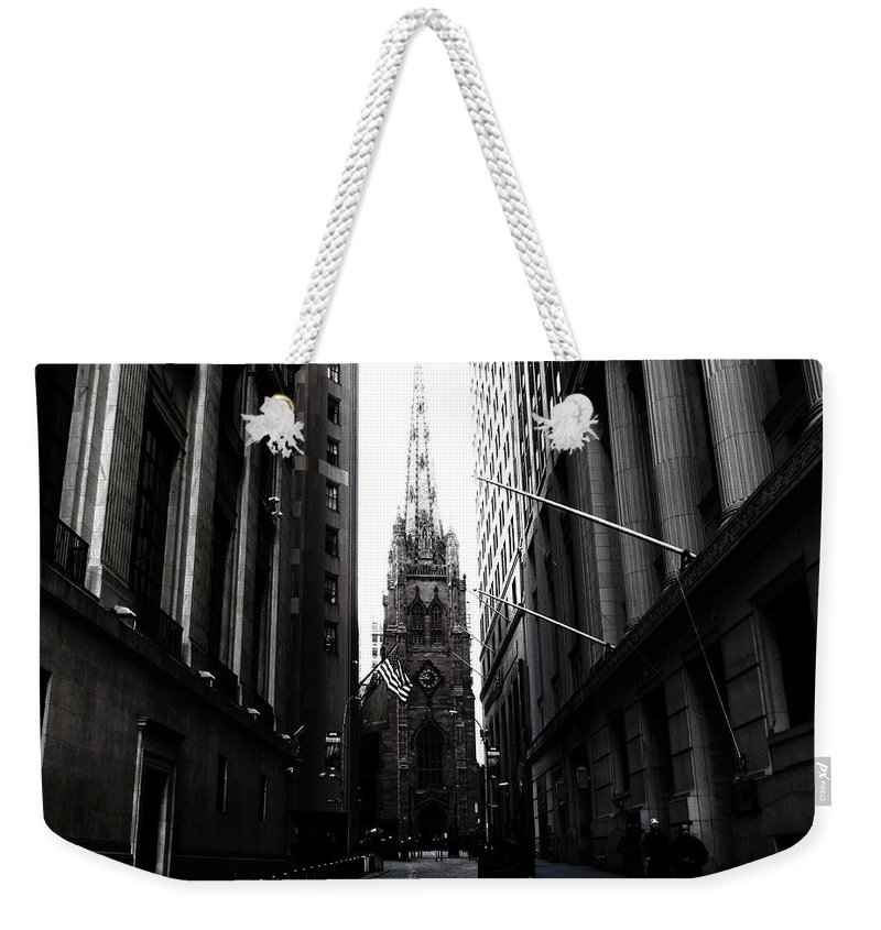Manhattan Weekender Tote Bag featuring the photograph Trinity Church New York City by Don Gronczewski