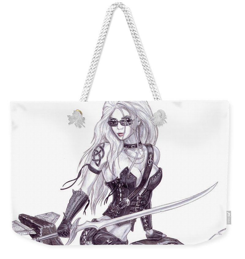 Femme Fatale Weekender Tote Bag featuring the drawing Trinity by Kristopher VonKaufman