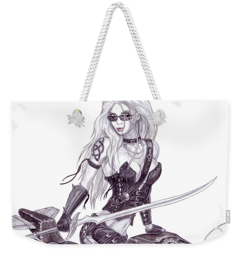 #femme Fatale Weekender Tote Bag featuring the drawing Trinity by Kristopher VonKaufman