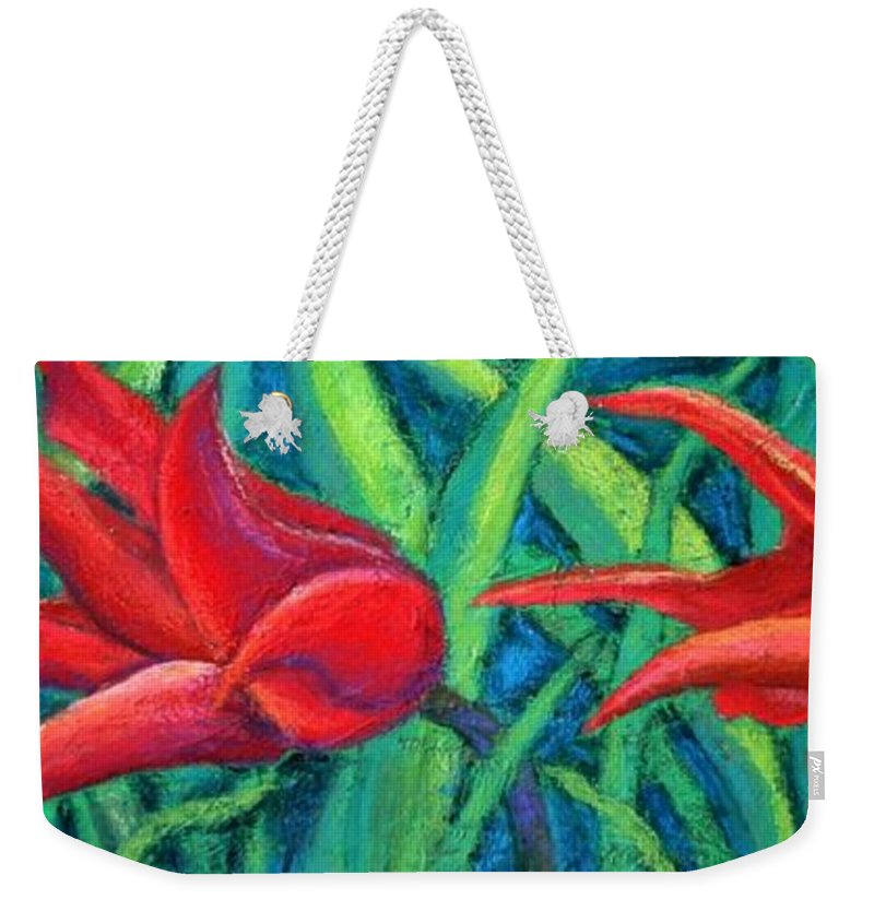 Tulips Weekender Tote Bag featuring the painting Triple Tease Tulips by Minaz Jantz